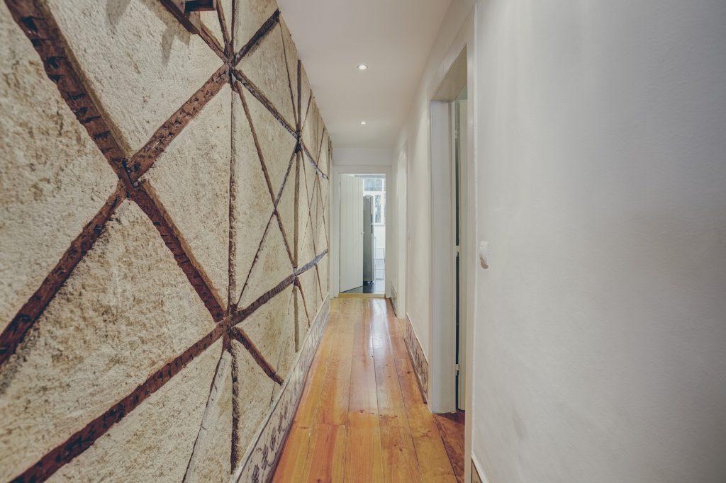 Gem Lisbon Rental Apartment, Historical Gem in Noble Estrela, corridor, old building wooden structure, natural woos floor