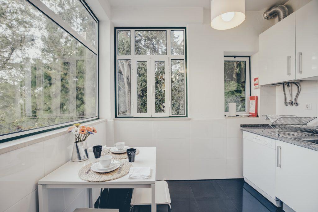 Gem Lisbon Rental Apartment, Historical Gem in Noble Estrela, kitchen, exterior nature view