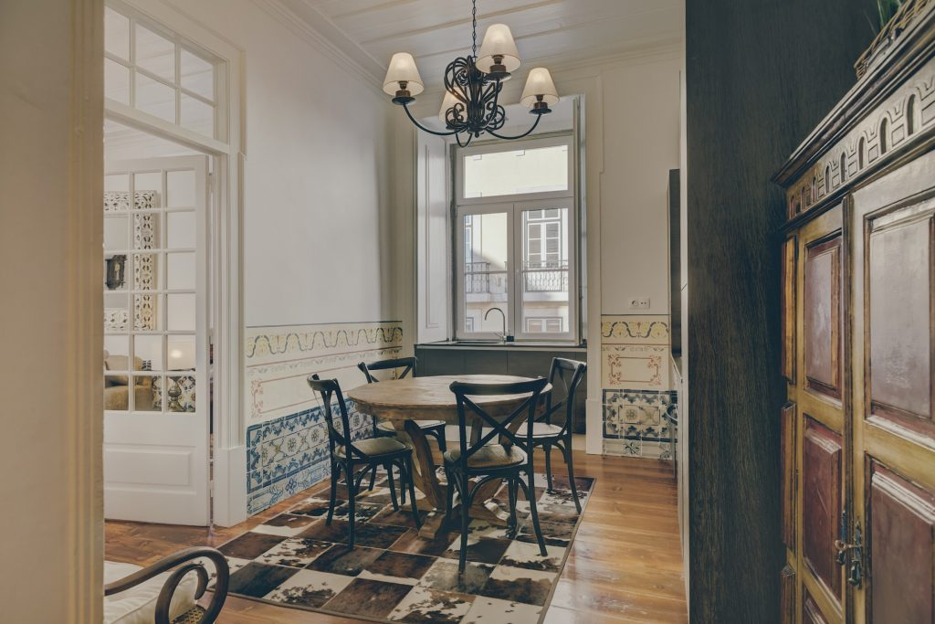 Gem Lisbon Rental Apartment, Architectural Gem in Baixa, Downtown, Dining Room, traditional wooden furniture, traditional tiles
