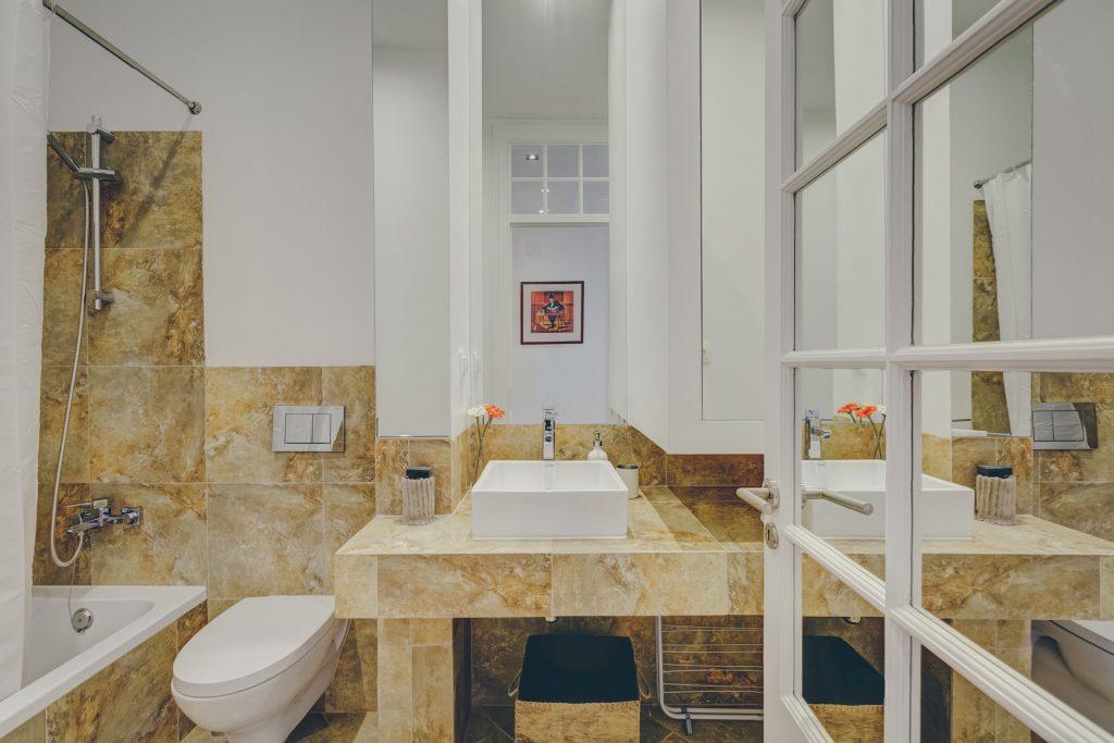 Gem Lisbon Rental Apartment, Architectural Gem in Baixa, Downtown, bathroom, stone mosaics