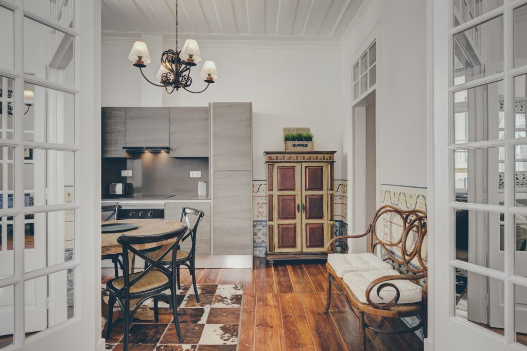 Gem Lisbon Rental Apartment, Architectural Gem in Baixa, Downtown, kitchen, traditional and modern furniture mix