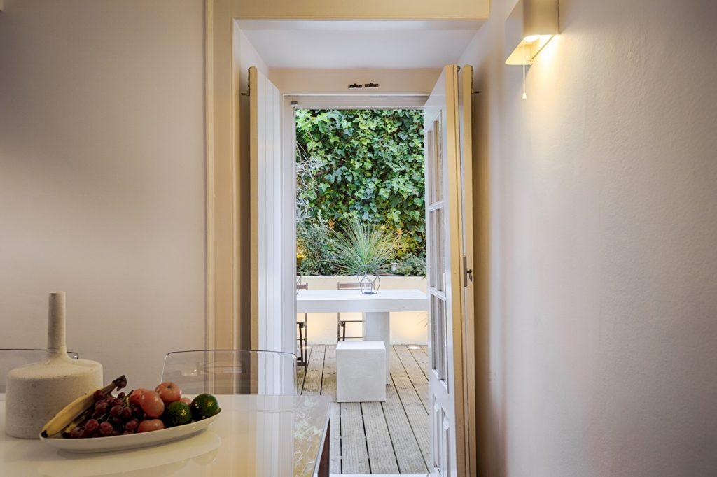 Gem Lisbon Rental Apartment, Romantic Gem in Santos, kitchen, patio view