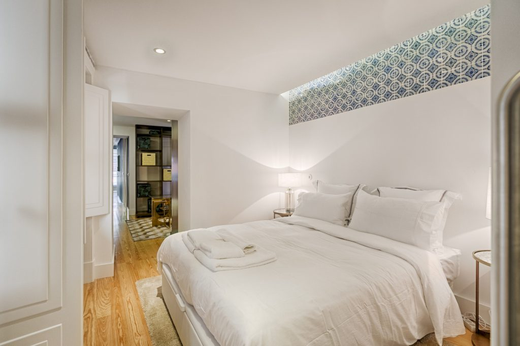 Gem Lisbon Rental Apartment, Deco Gem in Santa Catarina, beautiful bedroom, traditional tiles, lisbon tiles