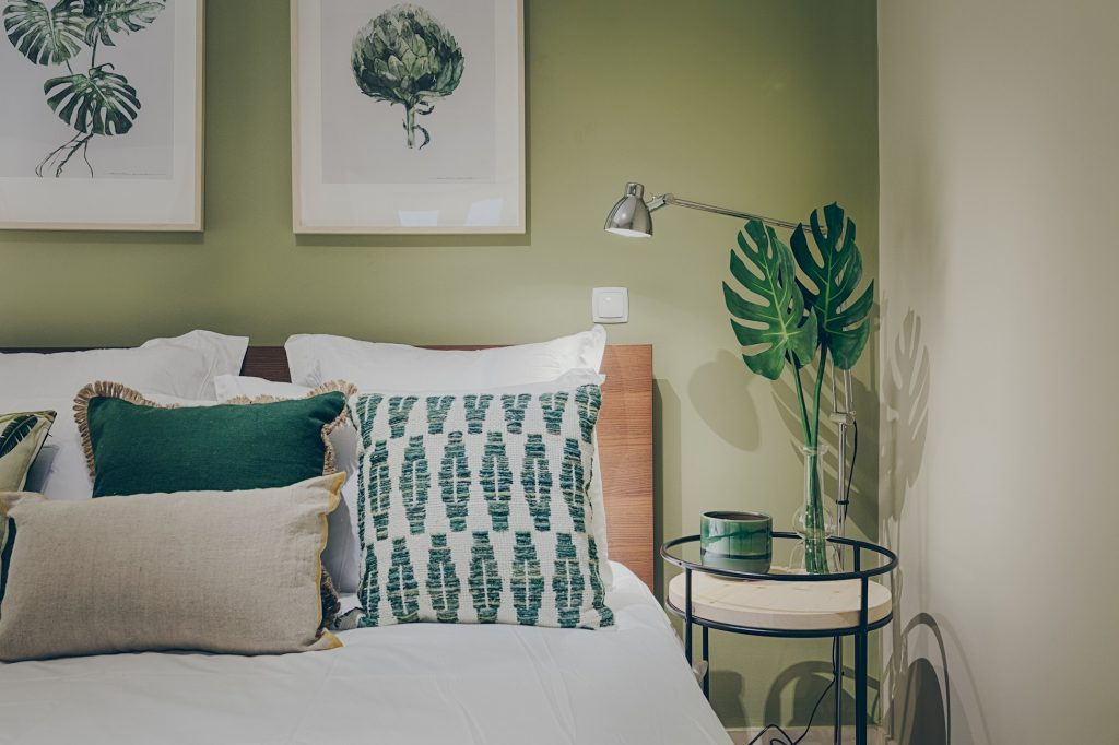 Gem Lisbon Rental Apartment, Historical Gem in Santa Catarina, bedroom detail, green, plants