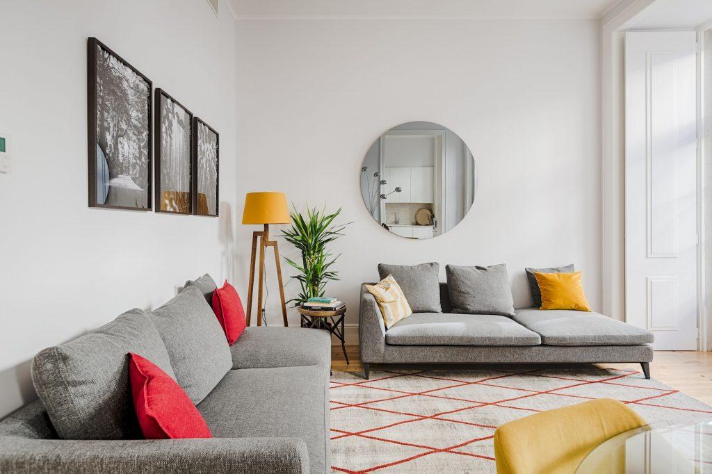 Gem Lisbon Rental Apartment, Architectural Gem in Baixa, beautiful living room