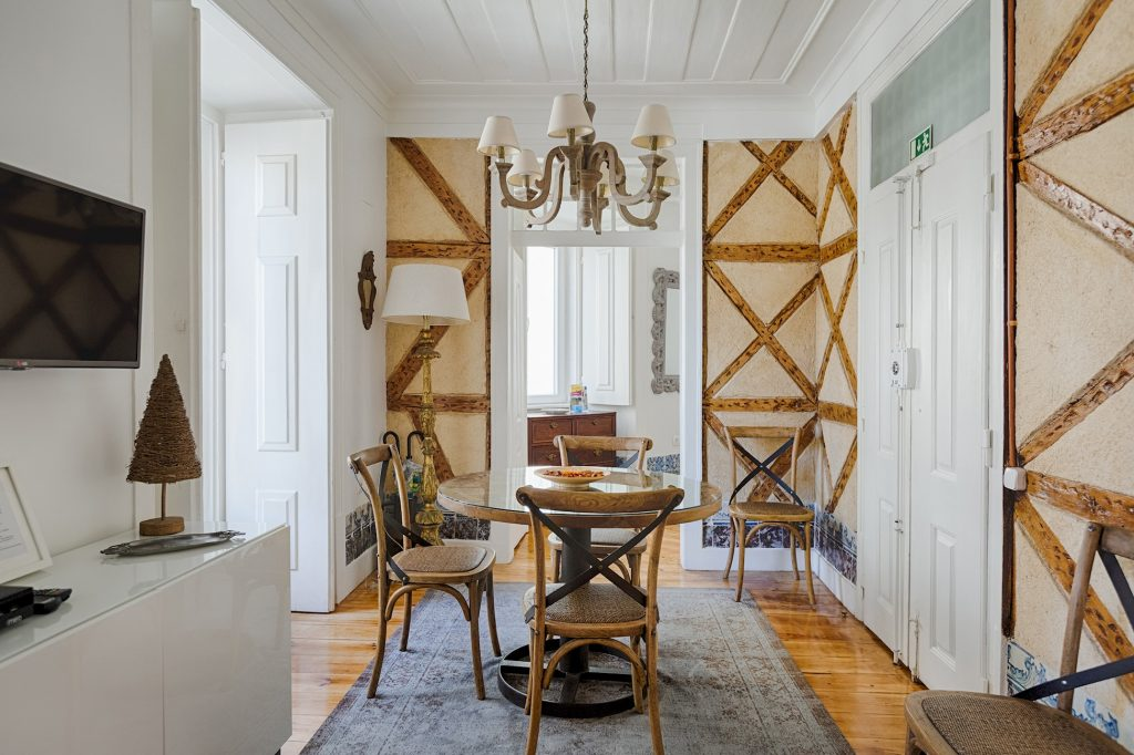 Gem Lisbon Rental Apartment, Historical Gem in Trendy Chiado, living room, old wood building structure