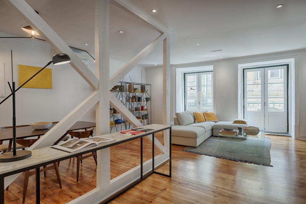 Gem Lisbon Rental Apartment, Architectural Gem in Bica, beautiful living room