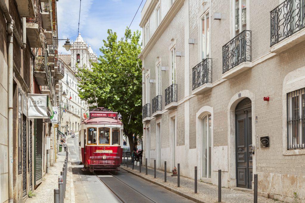 Red Tram in Santa Catarina Lisbon